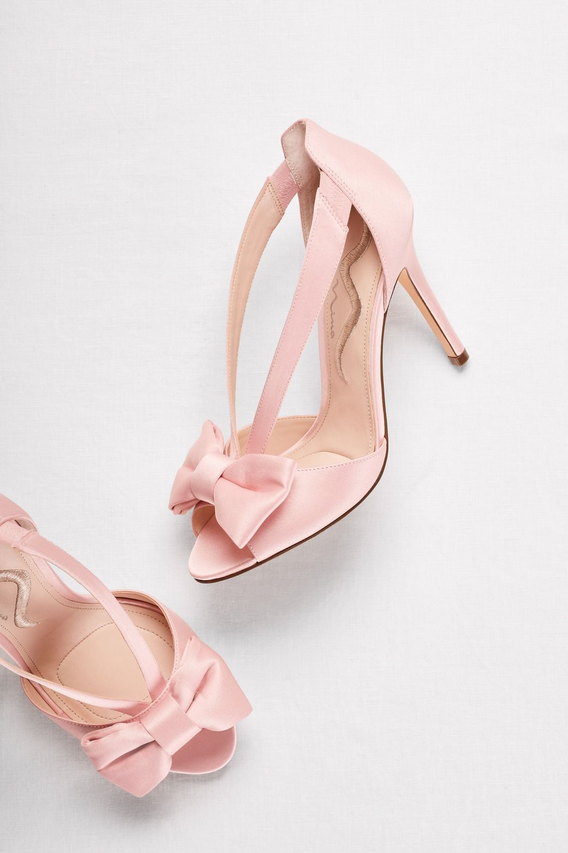 Strappy Bow Two Piece Pumps David S Bridal Pink Wedding Shoes Sparkle Wedding Shoes Wedding Shoes