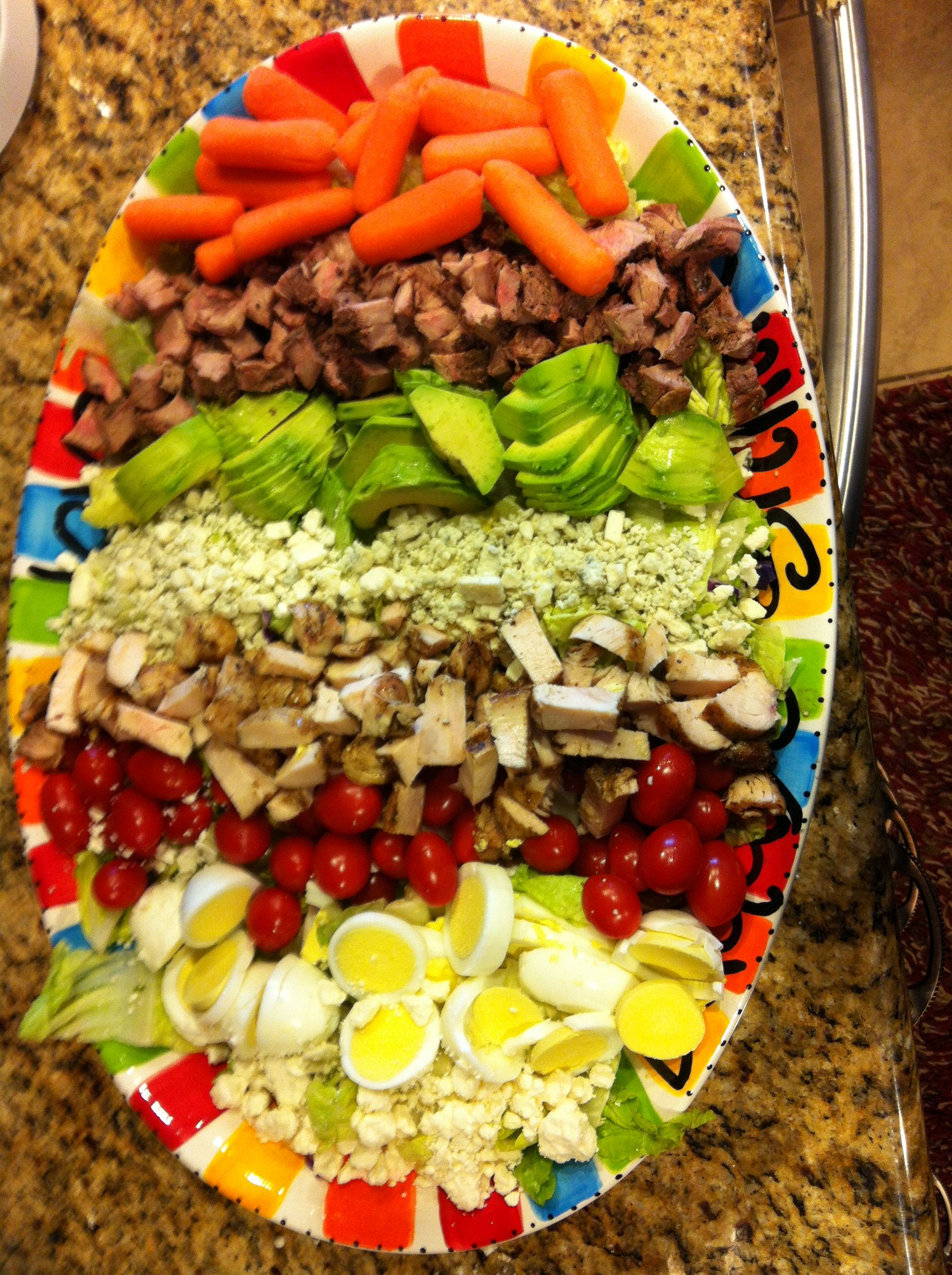 Chef salad for a crowd. Bed of romaine lettuce with your ...