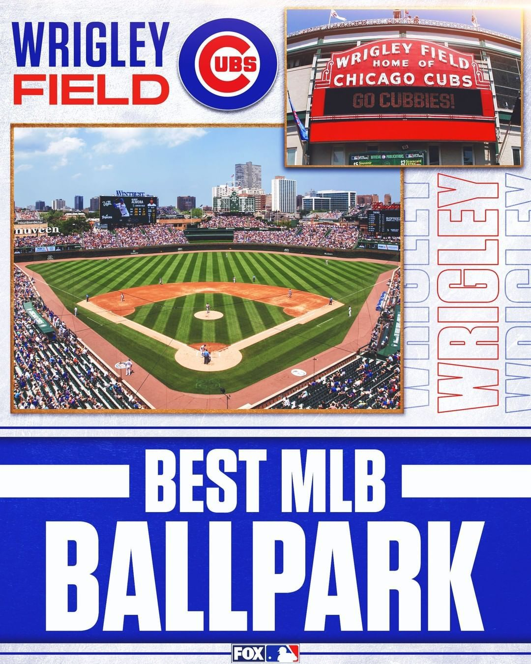 Mlb On Fox On Instagram We Have A Winner The Mlb On Fox Fans Voted Wrigley Field Home Of The Cubs As The Best Major Lea In 2020 Wrigley Field