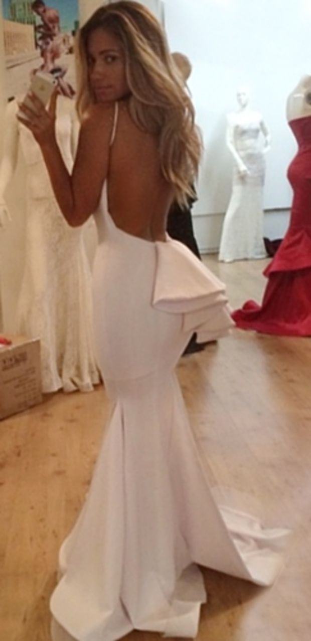 64edf193e005d White Bow Low Back Sleeveless Maxi Gown Mermaid Dress as Seen on Jessica  Burciaga - Inspired by Michael Costello