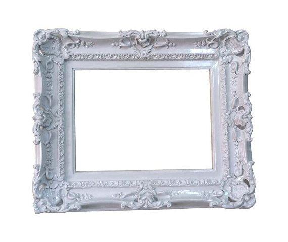 12x16 Shabby Chic White Frame, Decorative Baroque Wall Mirror Frame ...