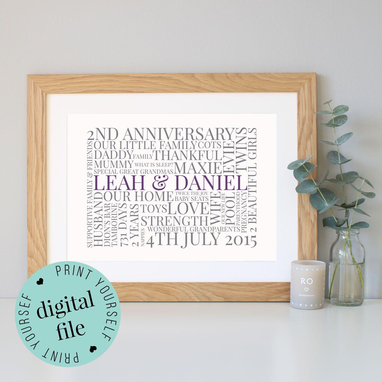 2nd ANNIVERSARY GIFT - Word Art - Printable Art - 2 Year Anniversary ...