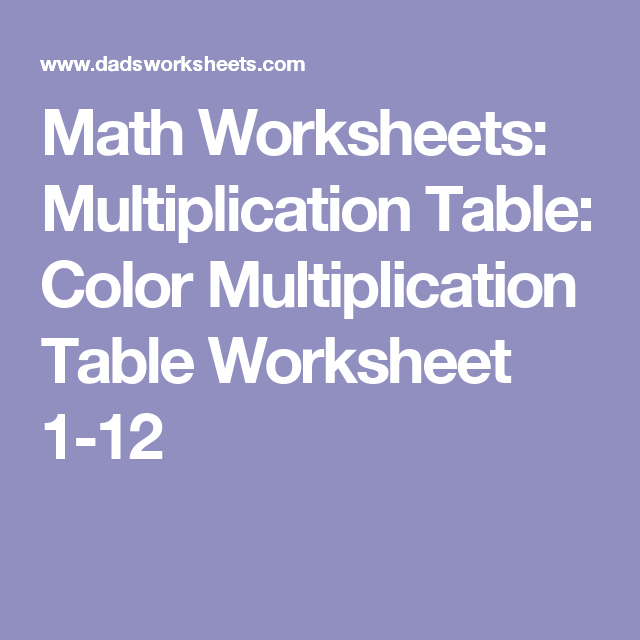 Math Worksheets Multiplication Table Color Multiplication Table