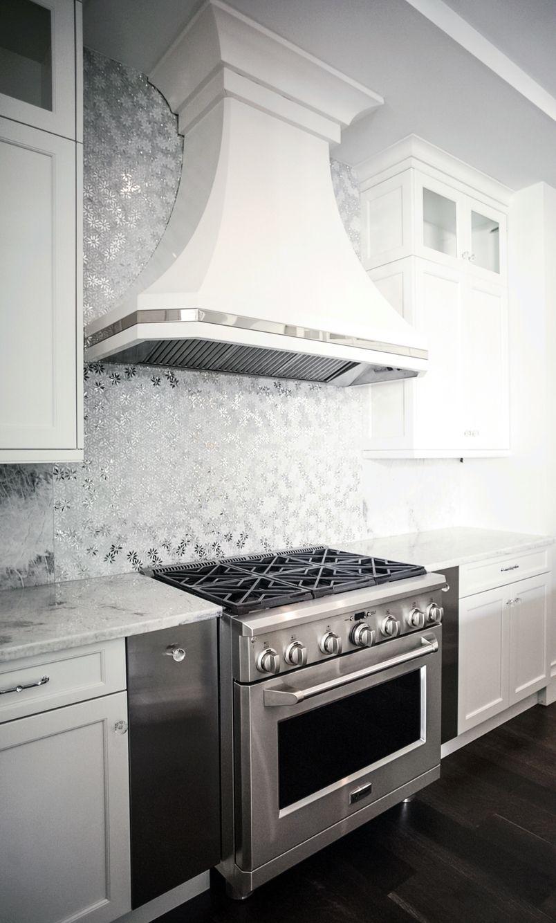 Custom Metal Hood With Polished Stainless Steel Accent Metallic Backsplash Kitchen Hoods Interior Design Kitchen