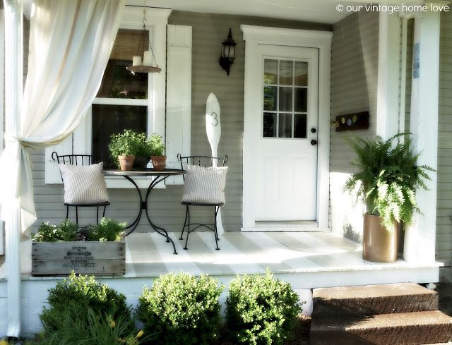 Our Vintage Home Love: Back/Side Porch Ideas For Summer and An Industrial Pipe Curtain Rod How To - light floor, bistro set #sideporch
