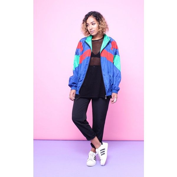 House of Jam 90s Vintage Retro Sports Shell Bomber Jacket ($40) ❤ liked on