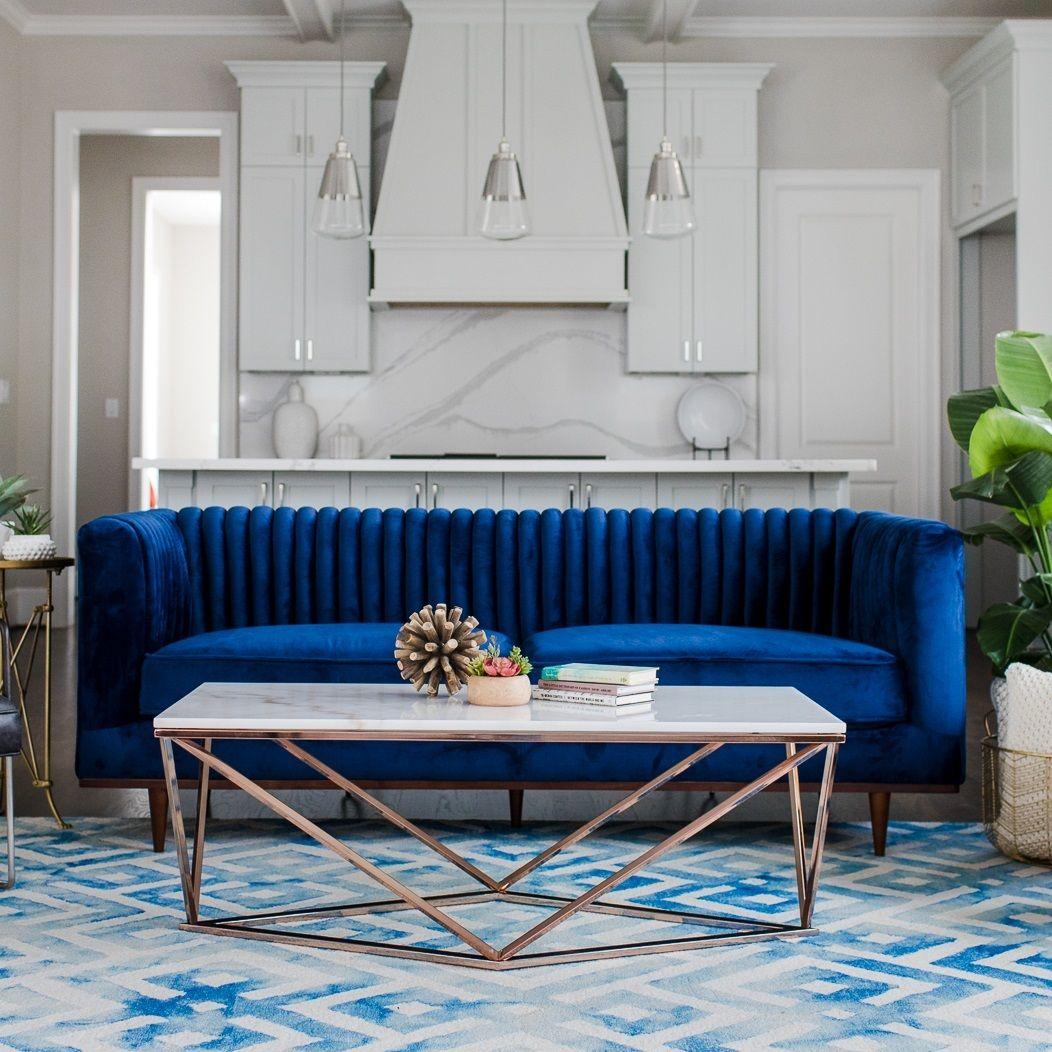 Laurel Modern 2 Cushion Blue Velvet Sofa 81 Velvet Sofa Living Room Blue Velvet Sofa Blue Velvet Couch