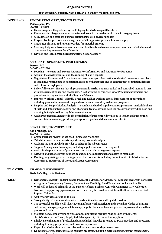 Specialist Procurement Resume Samples Velvet Jobs Amazing Specialist Procurement Resume Sam Sales Resume Examples Medical Sales Resume Operations Management