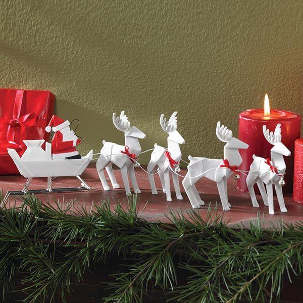 Origami Santa Ornament: Origami Santa Sleigh With Reindeer Set In White Porcelain