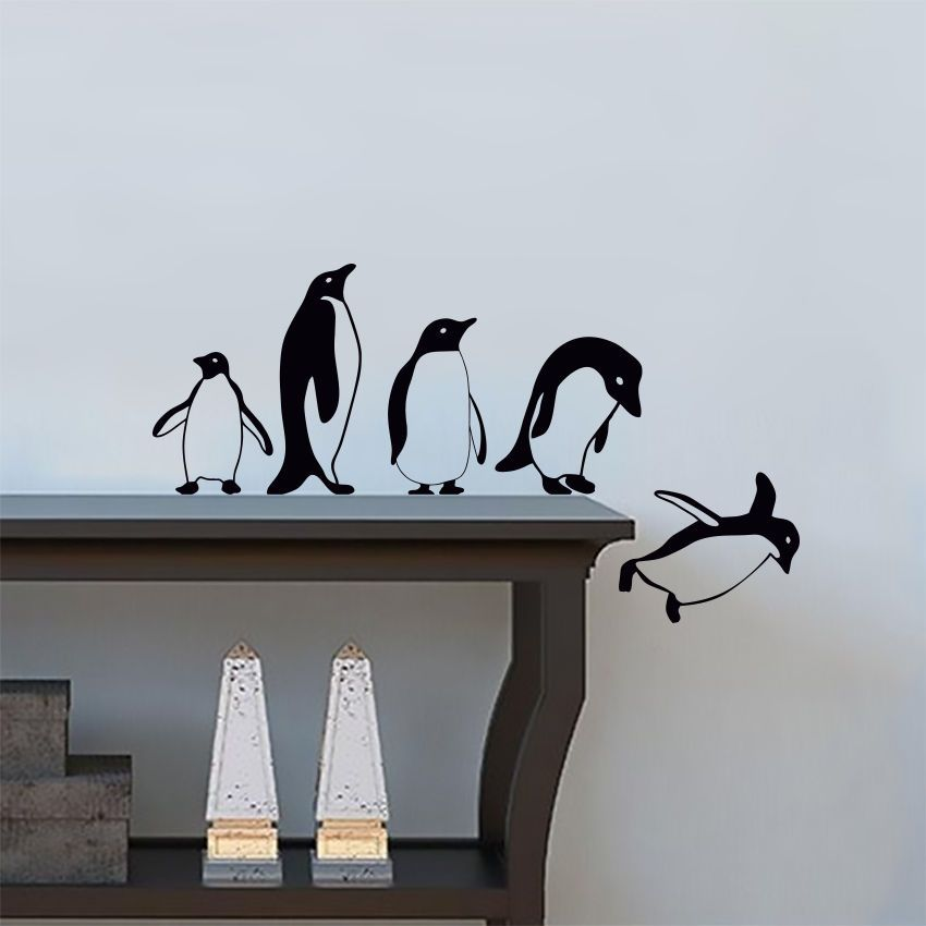 Penguins Jumping Flying Funny Vinyl Wall Sticker Decor Decal Mural Kitchen Pets Ebay Wall Decals For Bedroom Creative Wall Painting Wall Vinyl Decor
