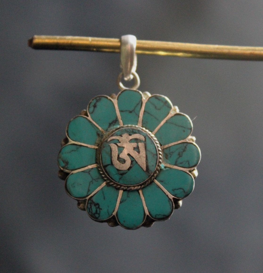 925 Sterling Silver Turquoise Flower Designer Pendant Handmade in Nepal by ShakyaHandicraft on Etsy