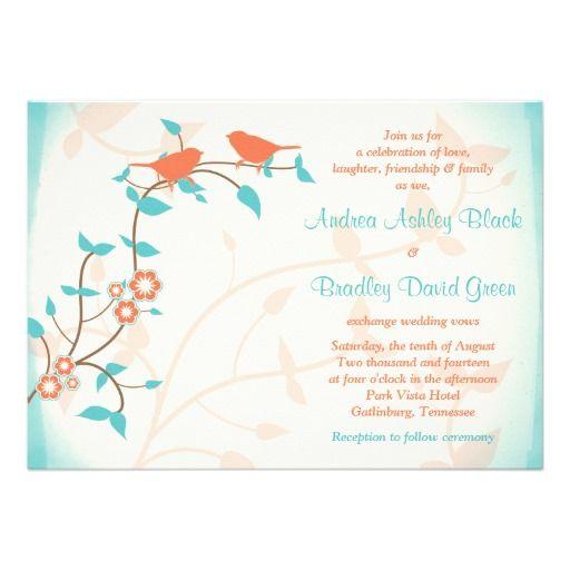 Turquoise Coral Birds Leaves Wedding Invitation | Zazzle.com #turquoisecoralweddings