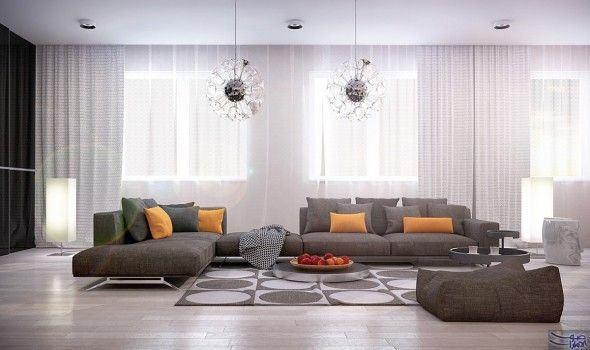 غرف جلوس أنيقة عصرية بطابع المودرن والأرضية اكد مهندس الديكور ماهر عمران اهمية الاهتمام بتصميمات غر Living Room Designs Living Room Apartment Interior Design