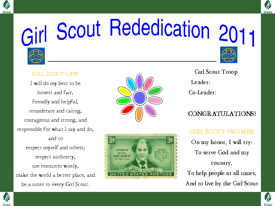 Guide to GS Investiture & Rededication Ceremonies