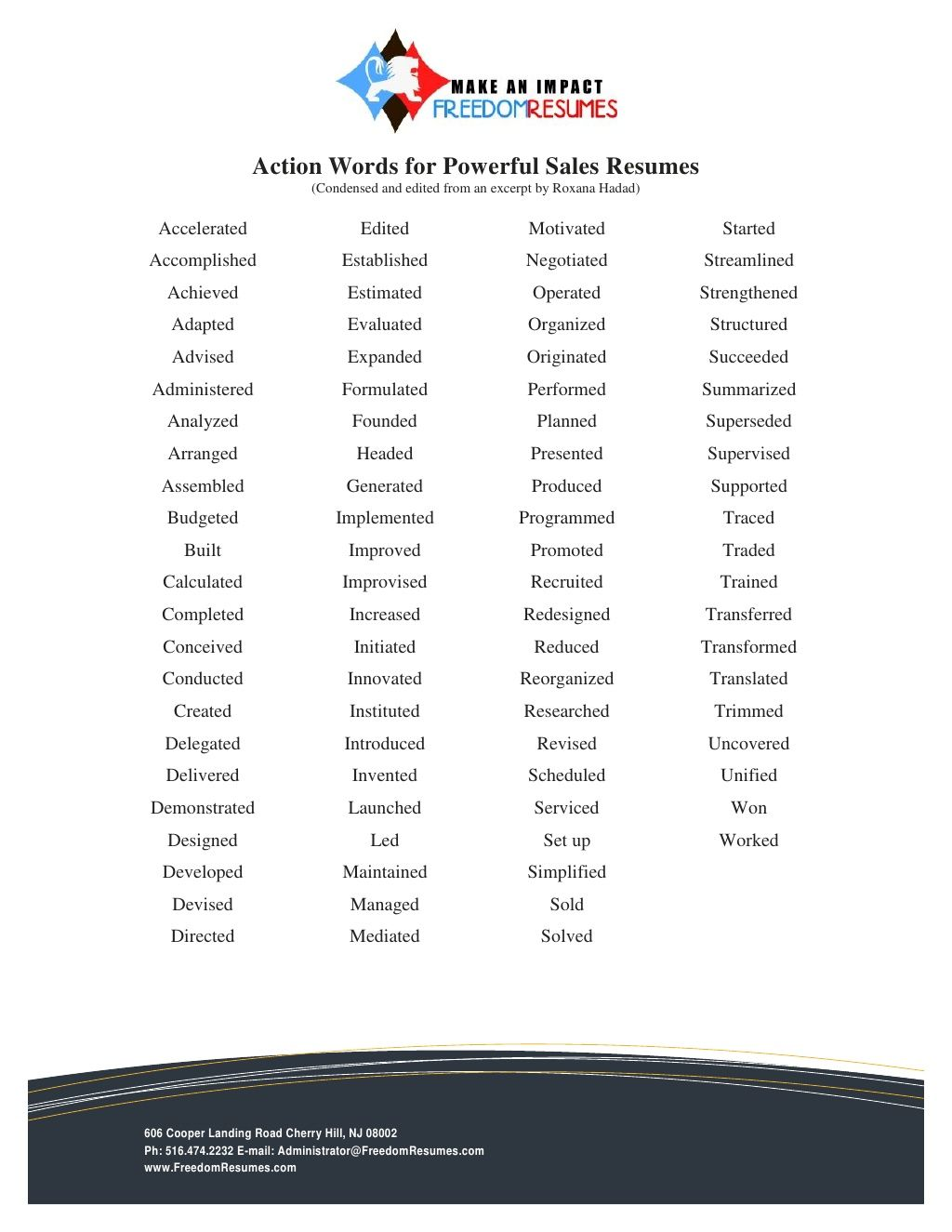 words for successful sales resumes by freedom