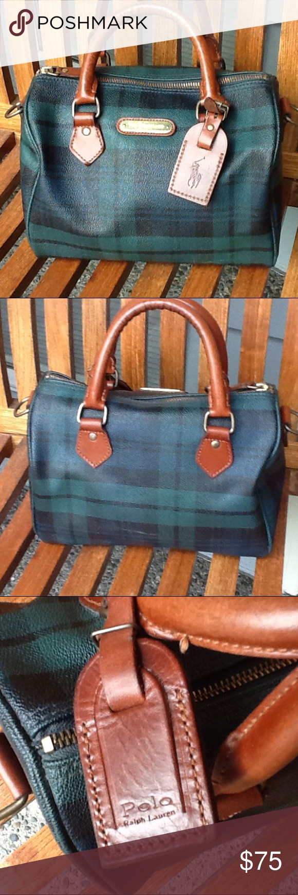 Vintage Polo Ralph Lauren handbag Green plaid with leather trim. Good  vintage used condition. There are some interior marks. About 10