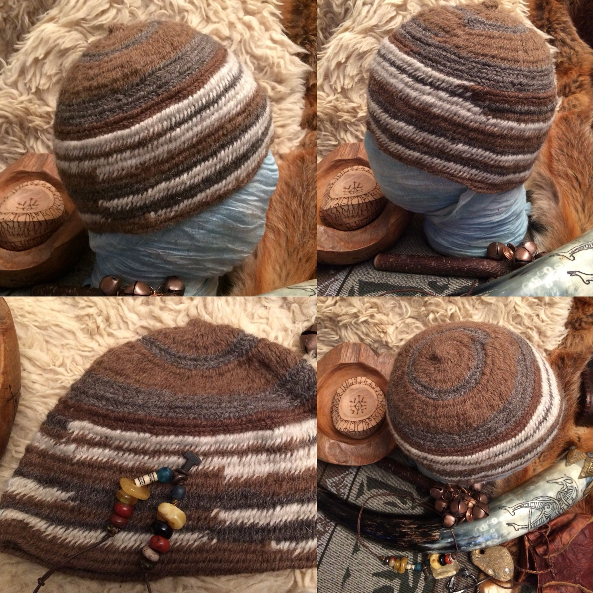 Nalbinding Hat Rare Breed Shetland & Jacobs Wool Viking Anglo-Saxon Reenactment Naalbinding in archaeology stitches woad trim reenactment hv220hcZ1w