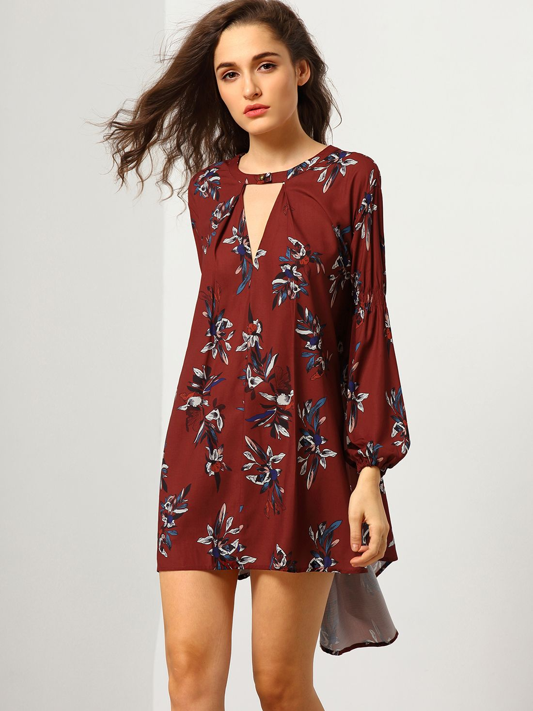 Wine Red Oxblood Baggy Long Sleeve Floral Flowery Dress Mobile Site