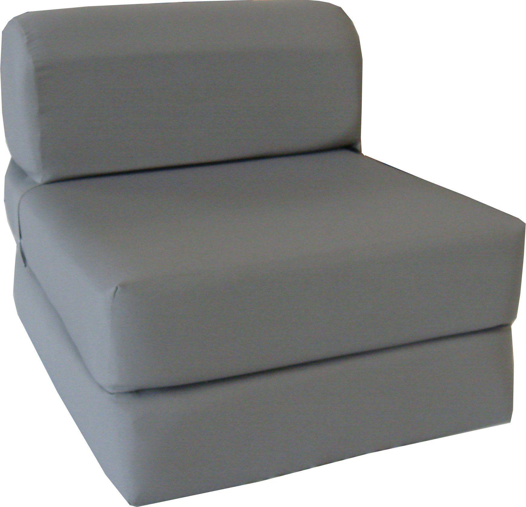 "Amazon Gray Sleeper Chair Folding Foam Bed Sized 6"" Thick X"