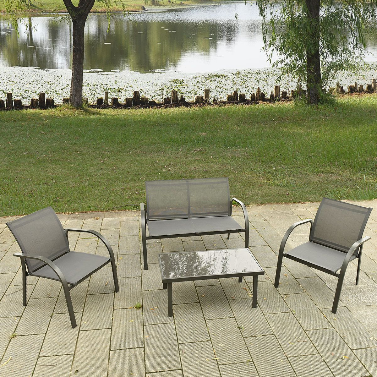 Attractive 4PCS Patio Garden Furniture Set Steel Frame Outdoor Lawn Sofa Chairs Table  Gray