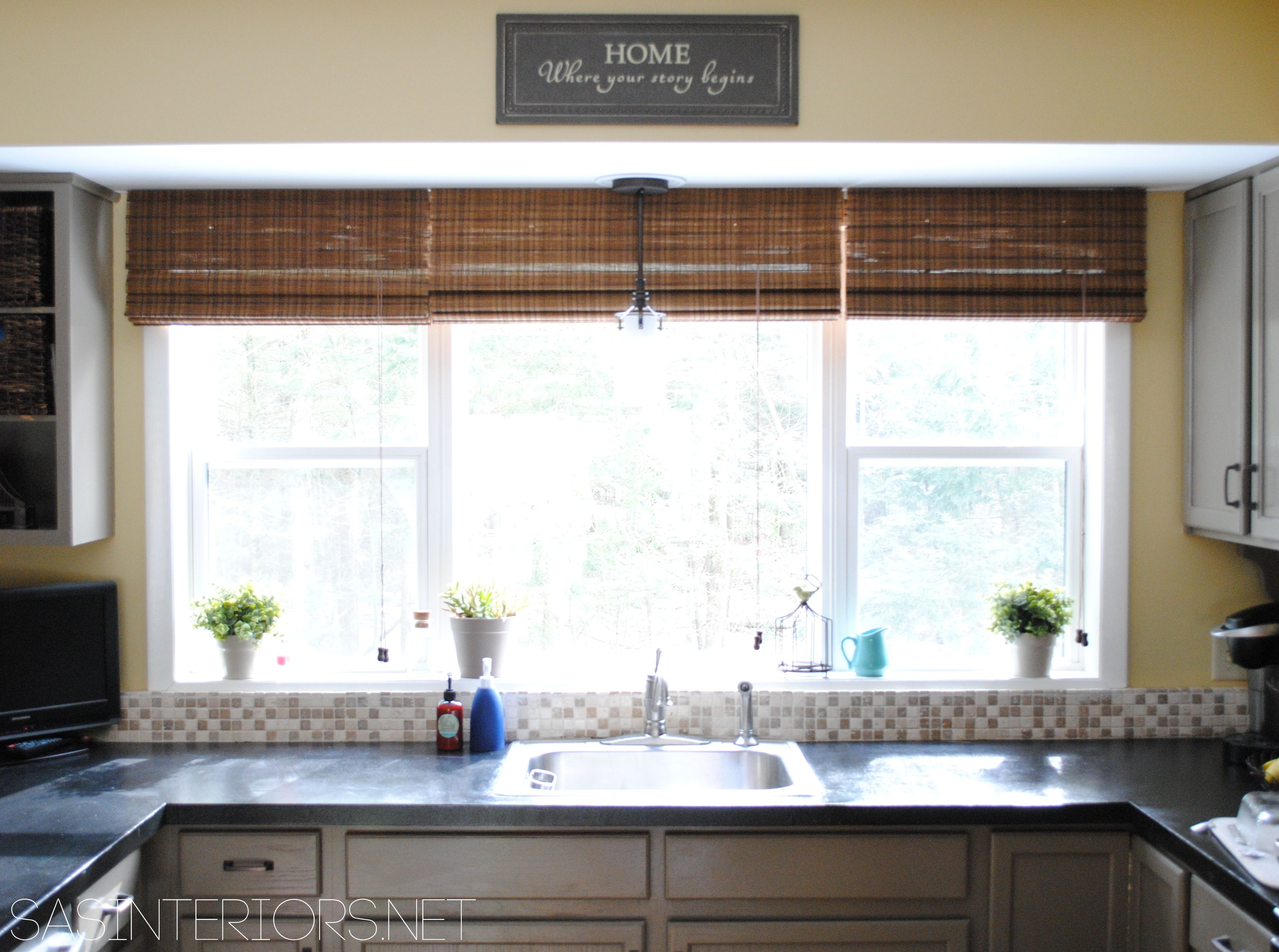 Large Kitchen Window Treatment Outside Mount Bamboo Shades They Share The Wood In Between No