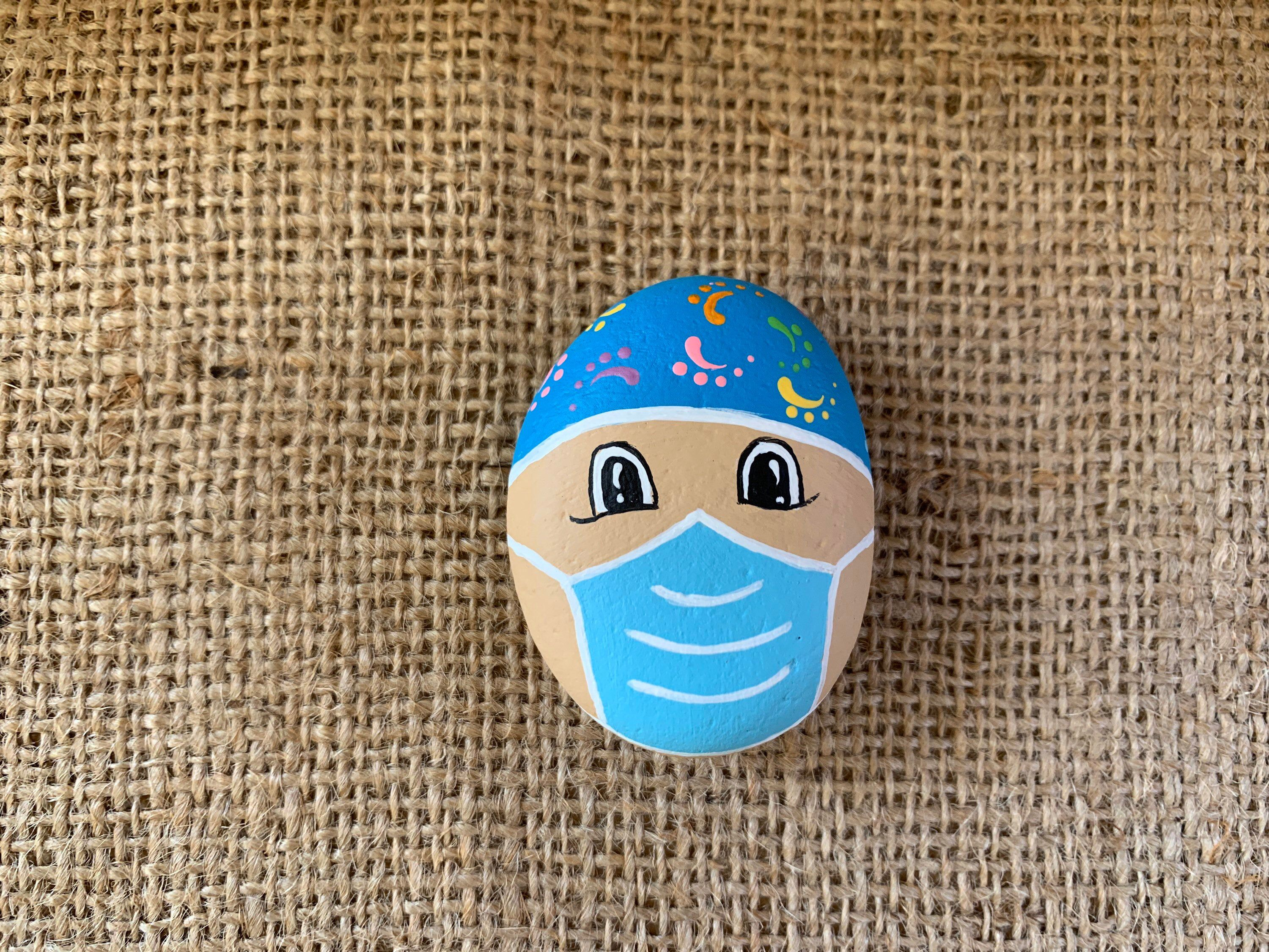 Photo of Health Care Hero Painted Rock Hand Painted Face Mask | Etsy