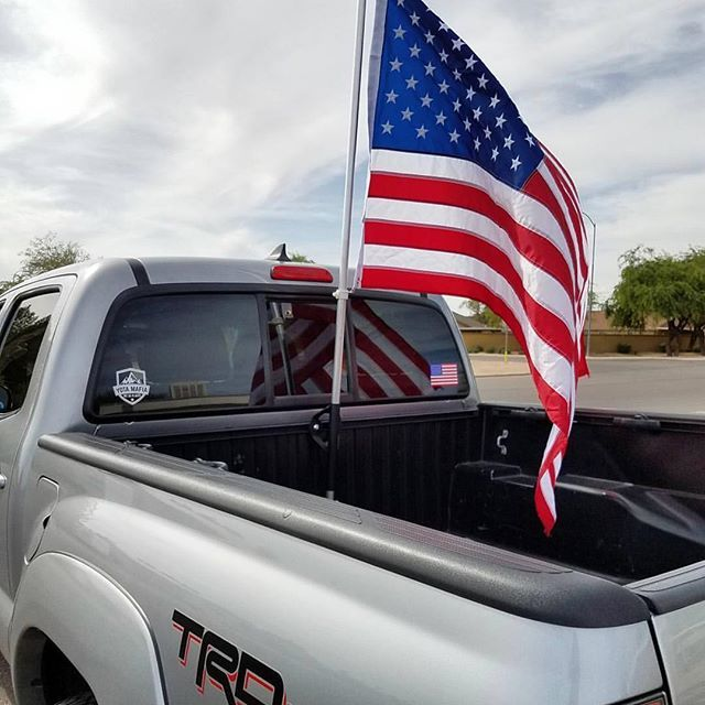 Show Off Your Red White Blue With Our Bed Rail Flag Mounts 44 99 No Tax And Free Shipping Tacoma Toyotatac Toyota Tacoma Truck Bed Rails Cali Raised Led