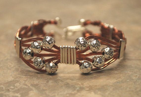 Silver and Copper Wire Wrapped Bangle Bracelet by jrmetalworks, $15.00