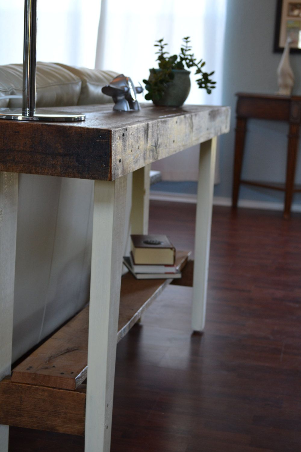 Handmade reclaimed wood sofa table farmhouse style 12000 via handmade reclaimed wood sofa table farmhouse style 12000 via etsy geotapseo Choice Image