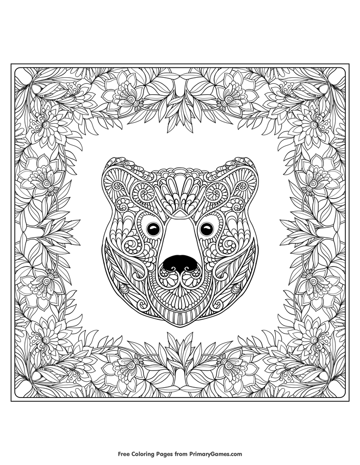 Fall Coloring Page Bear With Leaves