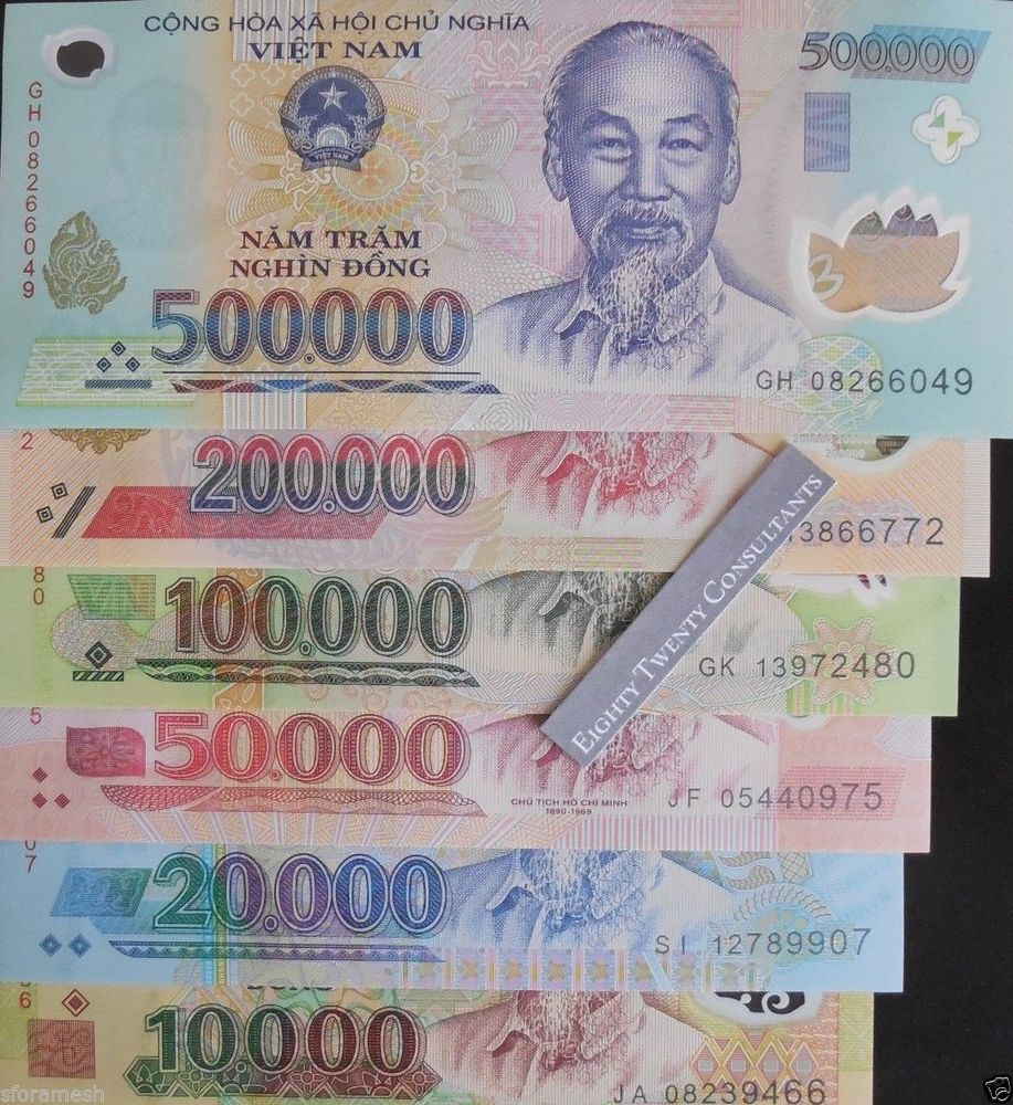 Vietnam Dong UNC Polymer Notes 10000/20000/50000/100000/200000