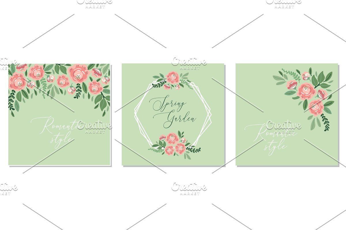 Photo of Cute botanical theme set of floral  Custom-Designed Illustrations