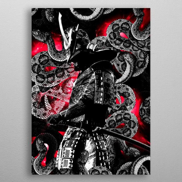 Oni Samurai armor snake metal print design | Displate thumbnail