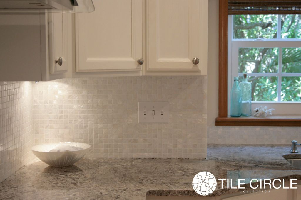 White Mother Of Pearl Tile Backsplash 1 X 1 Squares By Tile Circle