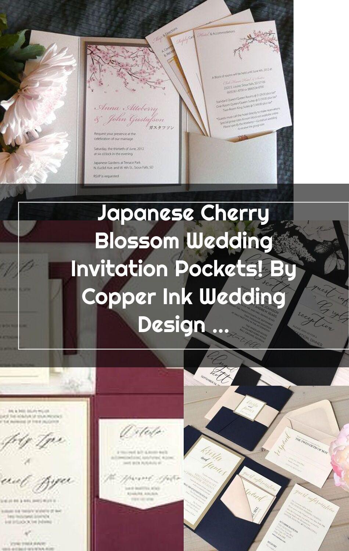 Japanese Cherry Blossom Wedding Invitation Pockets By Copper Ink Wedding In 2020 Cherry Blossom Wedding Invitations Pocket Wedding Invitations Cherry Blossom Wedding