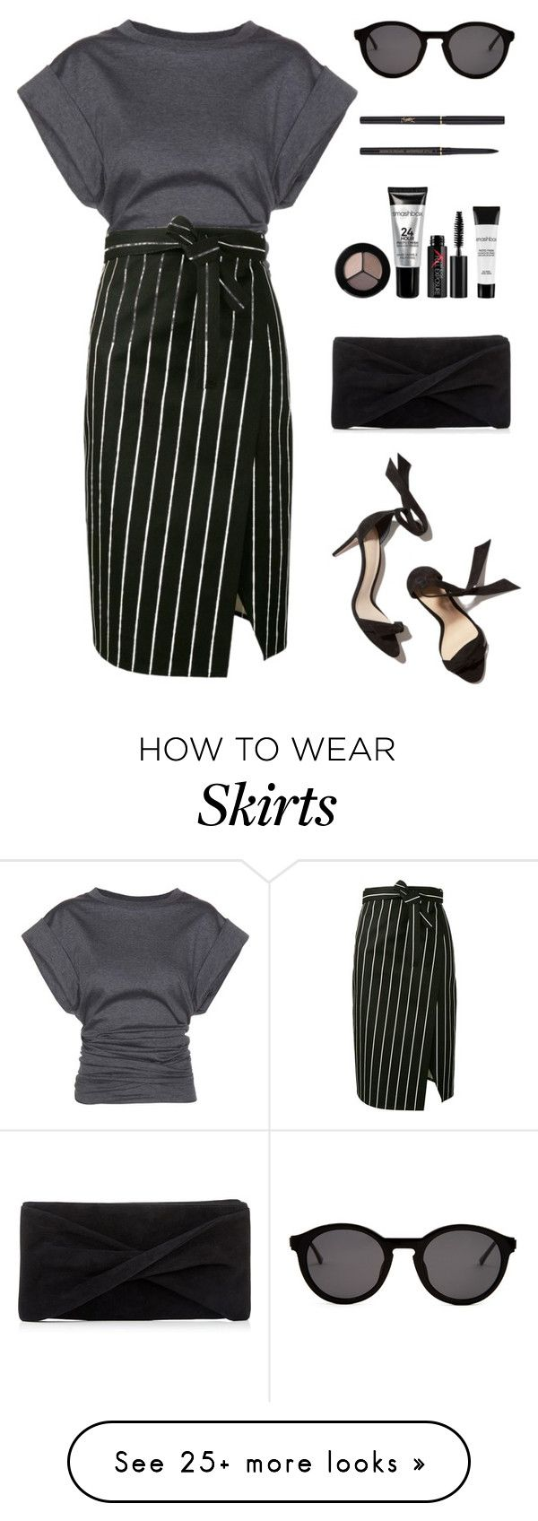 """Striped skirt"" by enamorado-dina on Polyvore featuring Smashbox, Isabel Marant, Balenciaga, Reiss, Thierry Lasry and Yves Saint Laurent"