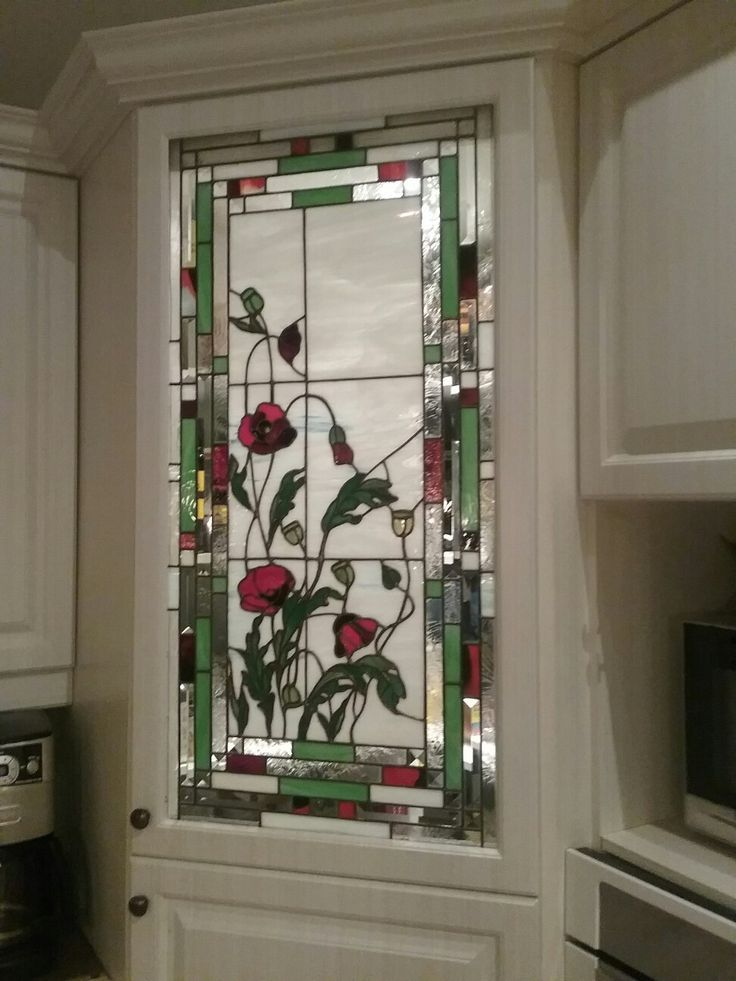 Green And Red Floral Stained Glass Door Panel With Images Stained Glass Flowers Faux Stained Glass Stained Glass Door