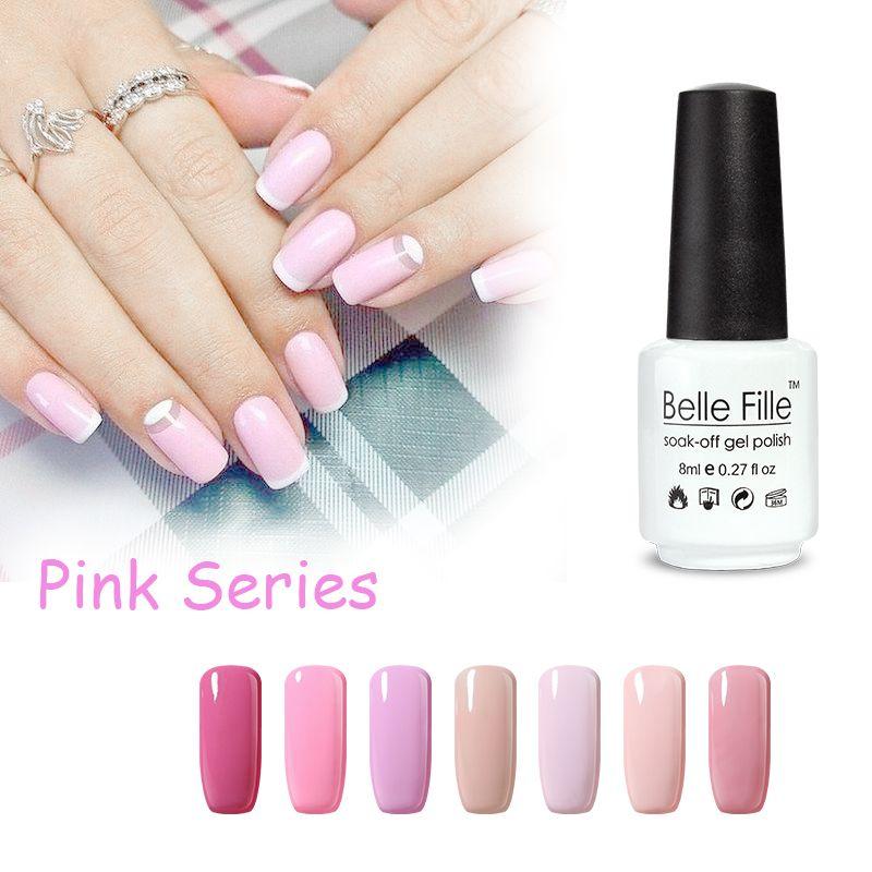 BELLE FILLE Angel Pink Uñas de Gel UV Esmalte de Uñas de Gel Empapa ...