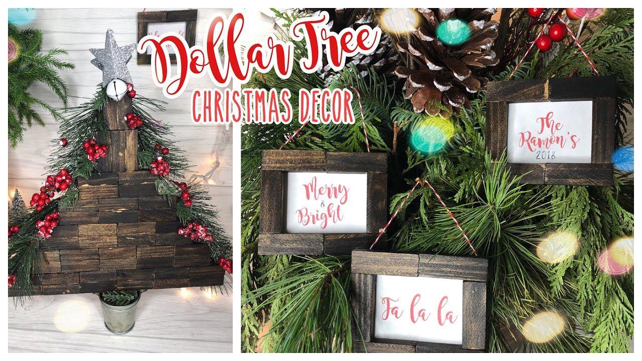 Dollar Tree Diy Farmhouse Christmas Decor Tree Needs Tweaked But The Frames Are Spot Dollar Tree Christmas Decor Diy Christmas Garland Dollar Tree Christmas