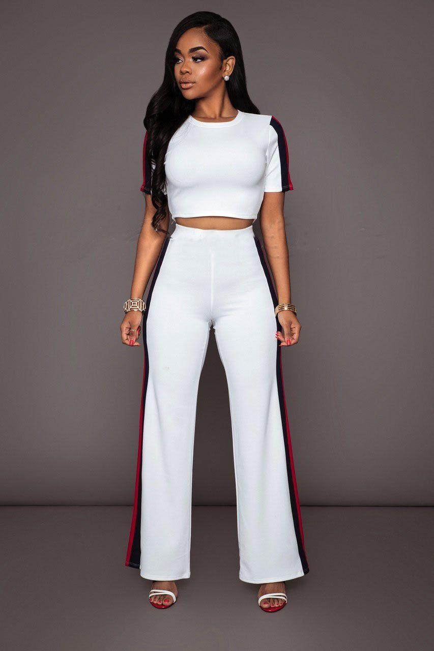 Stripes Patchwork Crop Top with Long Wide-leg Pants Two Pieces Set