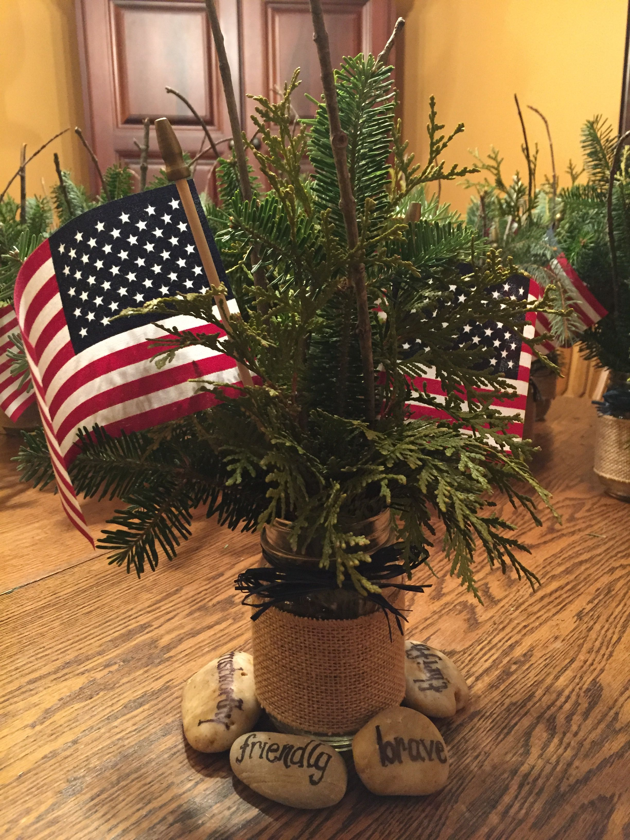 Eagle scout court of honor centerpiece assorted evergreens
