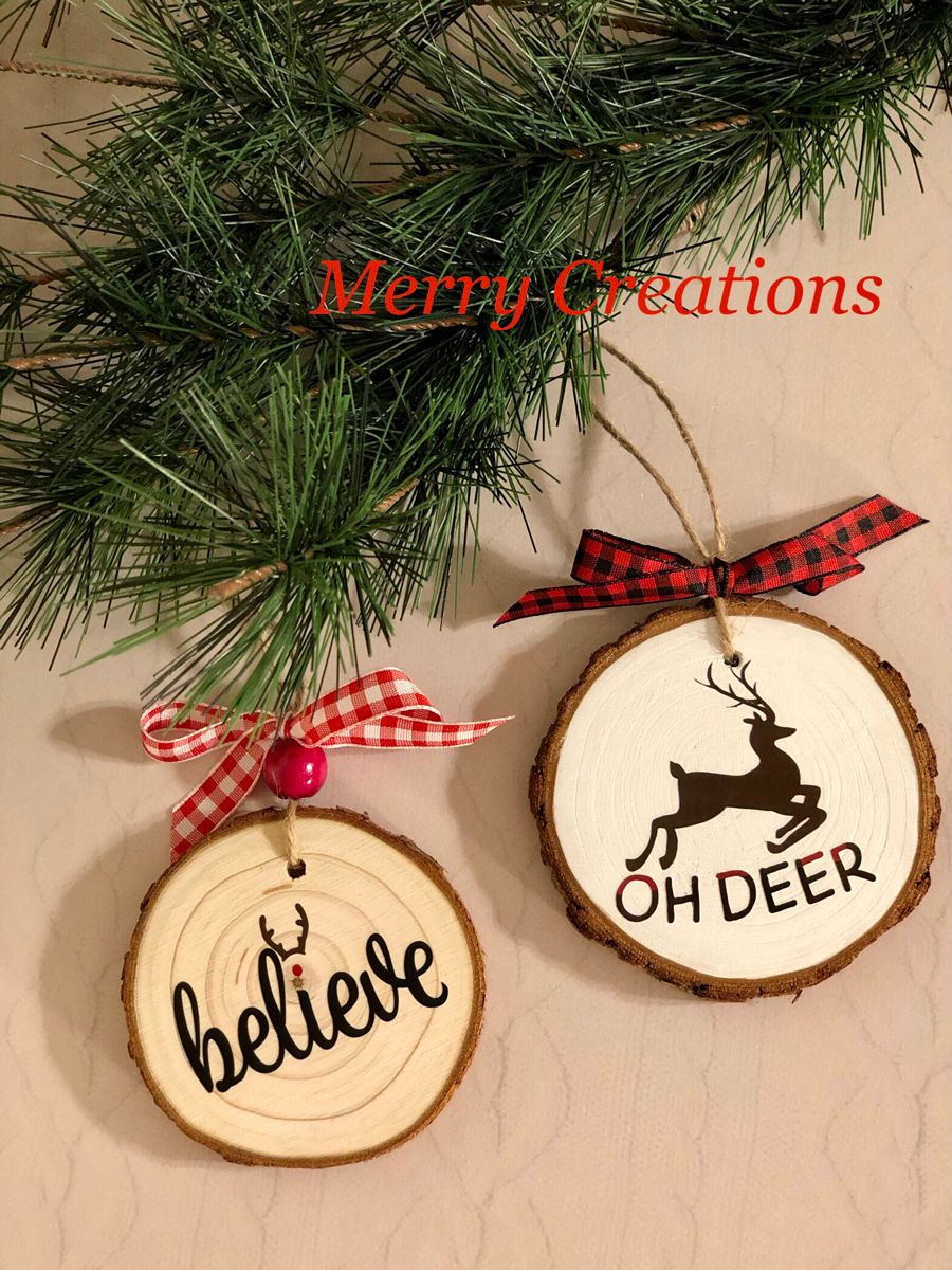 Rustic Farmhouse Style Wood Slice Ornaments Deer Ornament Farmhouse Ornaments Wood Slice Ornament