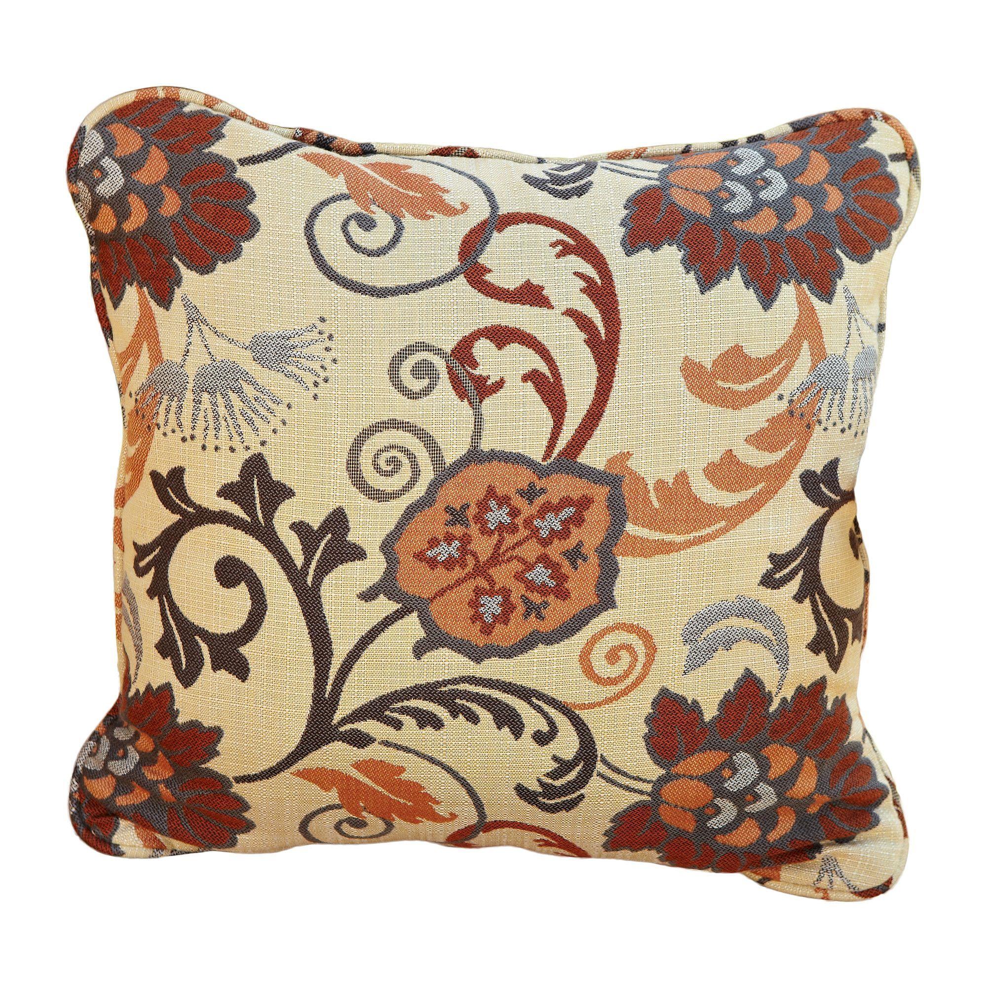 Corded Floral Outdoor Sunbrella Throw Pillow