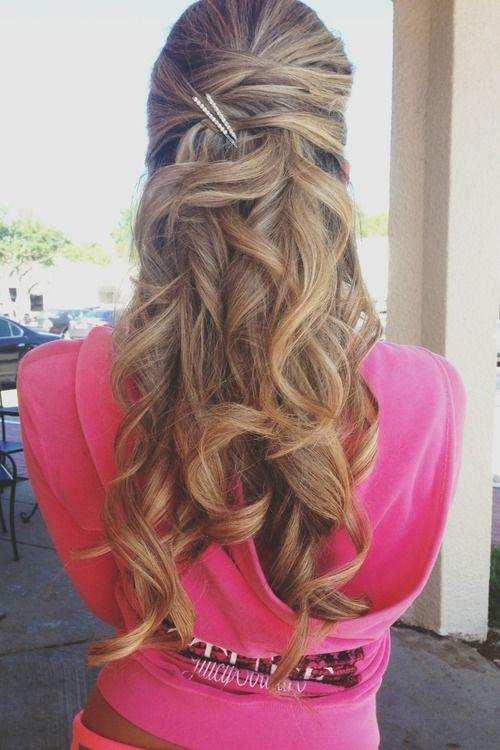 Half up half down hairstyle | Cute prom hairstyles, Hair ...