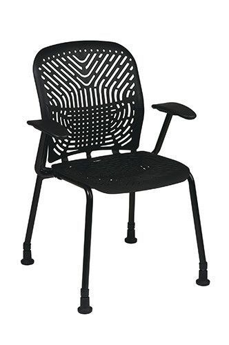 Office Star 801 333AG Deluxe SpaceFlex Raven Seat And Back Visitors Chair  With Black Frame