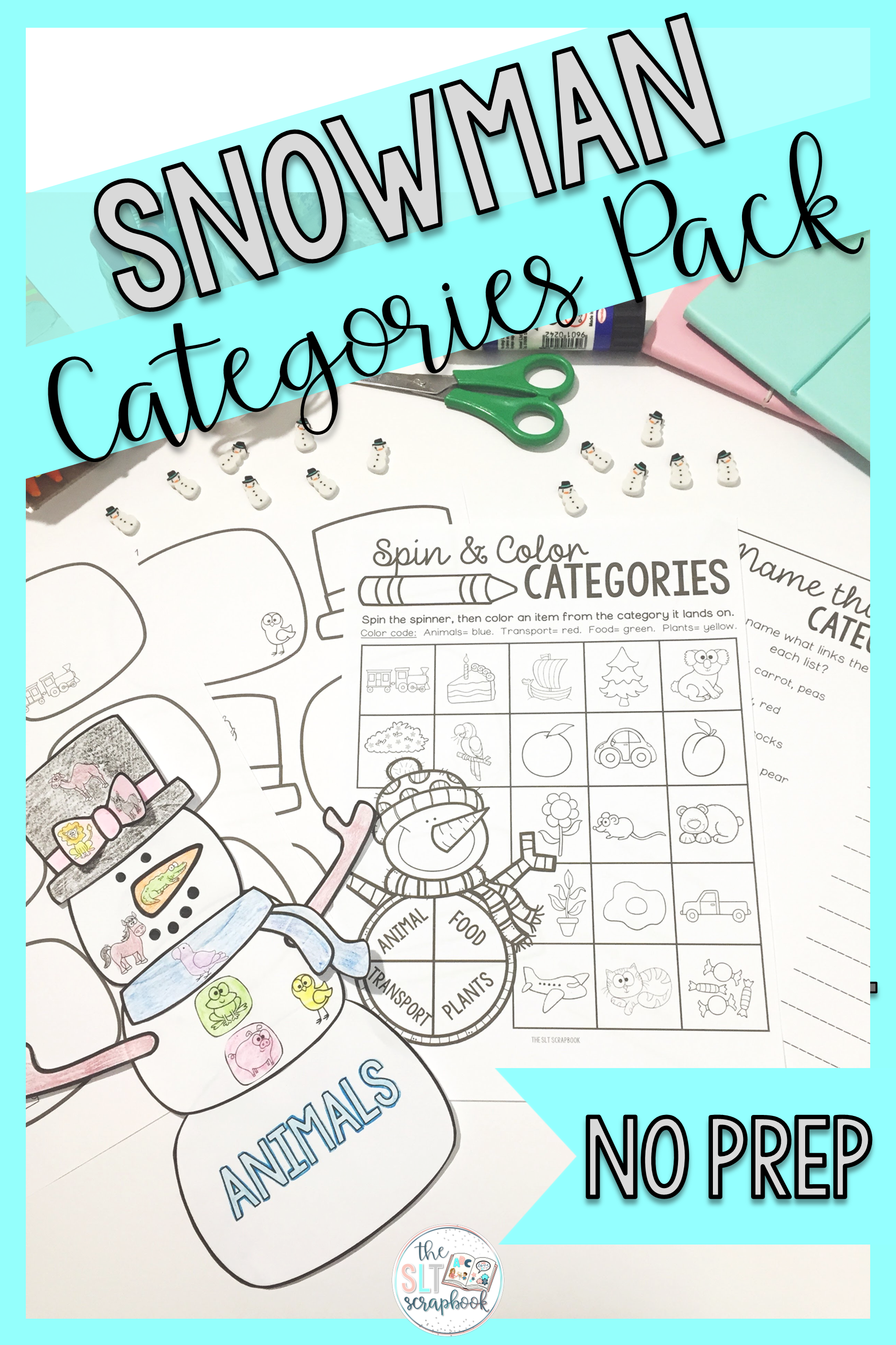 This No Prep Snowman Themed Categories Pack Is Perfect For