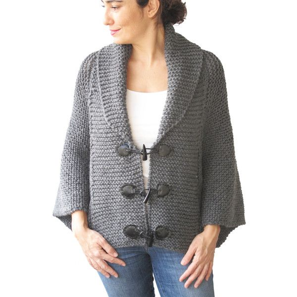 a68677bb0d021 Winter 20 Plus Size Hand Knitted Silver Dark Grey Poncho With Leather...  ( 77) ❤ liked on Polyvore featuring outerwear