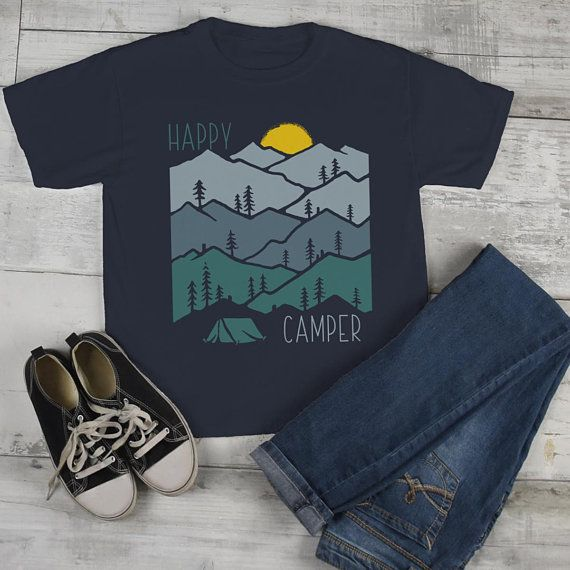 Kids Happy Camper T Shirt Sunset Shirts Camping Tee Nature Tshirt Wanderlust Clothing – look de hombre