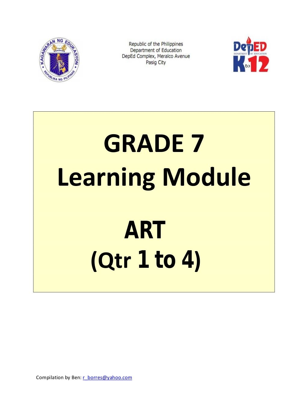 Grade 7 Learning Module In Art Quarter 1 To 4 Education Quotes Education Math Big Ideas Math [ 1326 x 1024 Pixel ]