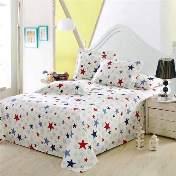 100%Cotton Stripes Flat Sheet Men Women Children Bedding Include Bed Flat  Sheet Pillowcase Twin